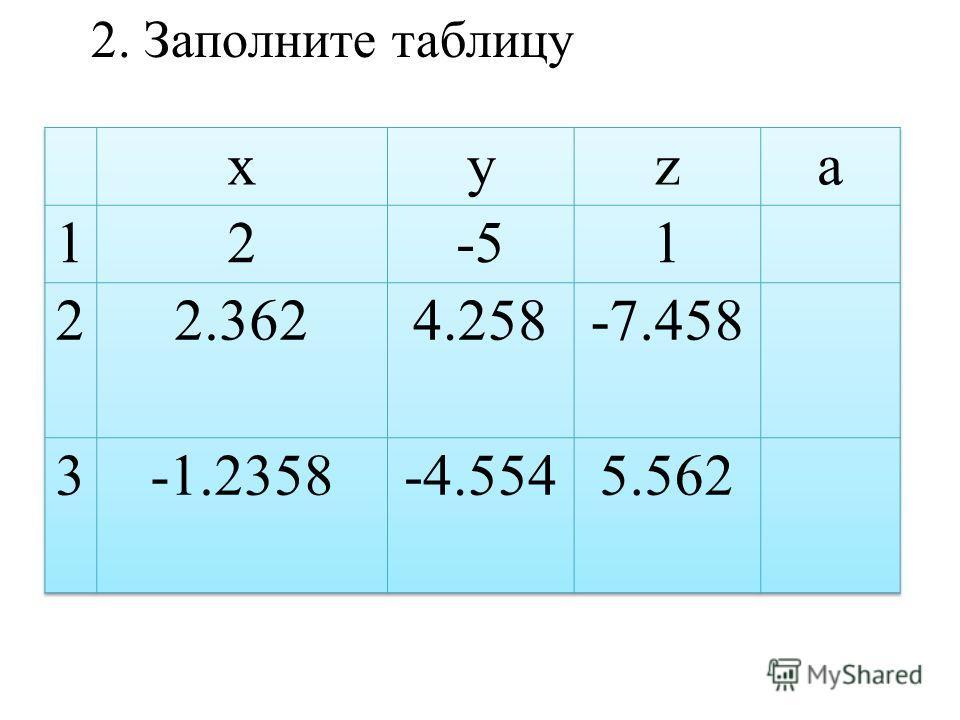 2. Заполните таблицу