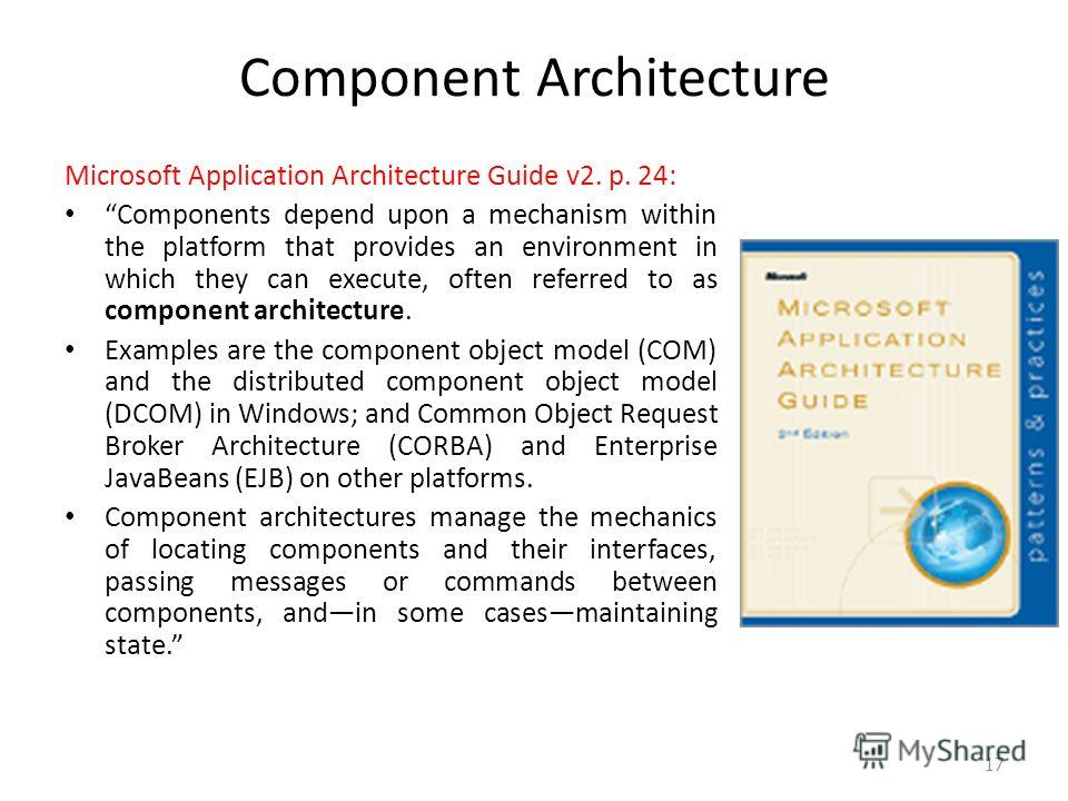 Component Architecture Microsoft Application Architecture Guide v2. p. 24: Components depend upon a mechanism within the platform that provides an environment in which they can execute, often referred to as component architecture. Examples are the co