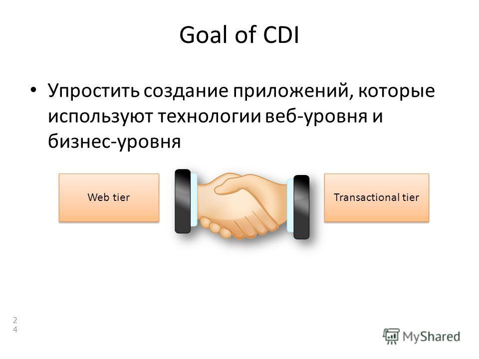 Goal of CDI Упростить создание приложений, которые используют технологии веб-уровня и бизнес-уровня 24 Transactional tier Web tier