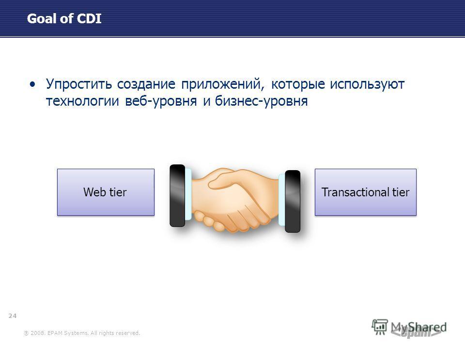 ® 2008. EPAM Systems. All rights reserved. Goal of CDI Упростить создание приложений, которые используют технологии веб-уровня и бизнес-уровня Transactional tier Web tier 24
