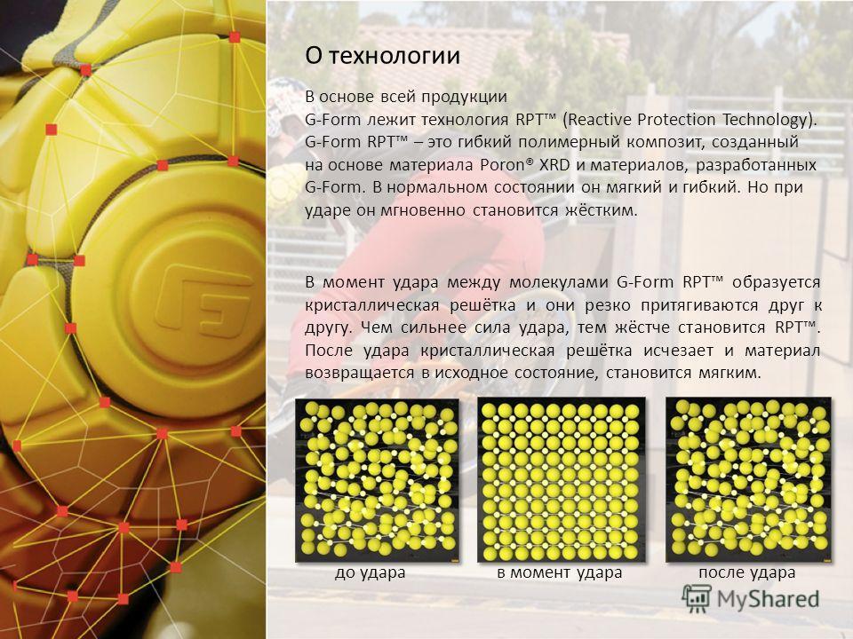 В основе всей продукции G-Form лежит технология RPT (Reactive Protection Technology). G-Form RPT – это гибкий полимерный композит, созданный на основе материала Poron® XRD и материалов, разработанных G-Form. В нормальном состоянии он мягкий и гибкий.