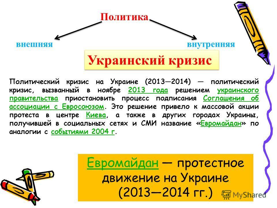 Политика внешняя внутренняя Украинский кризис Политический кризис на Украине (20132014) политический кризис, вызванный в ноябре 2013 года решением украинского правительства приостановить процесс подписания Соглашения об ассоциации с Евросоюзом. Это р