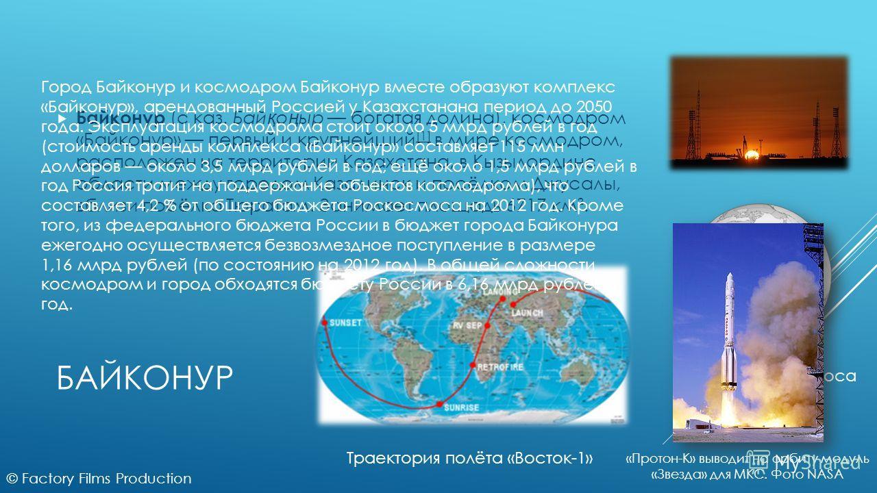 БАЙКОНУР Байконур (с каз. Бай қ о ң ыр богатая долина), космодром «Байконур» первый и крупнейший [1] в мире космодром, расположен на территории Казахстана, в Кызылординс области между городом Казалинск и посёлком Джусалы, вблизи посёлка Тюратам. Зани