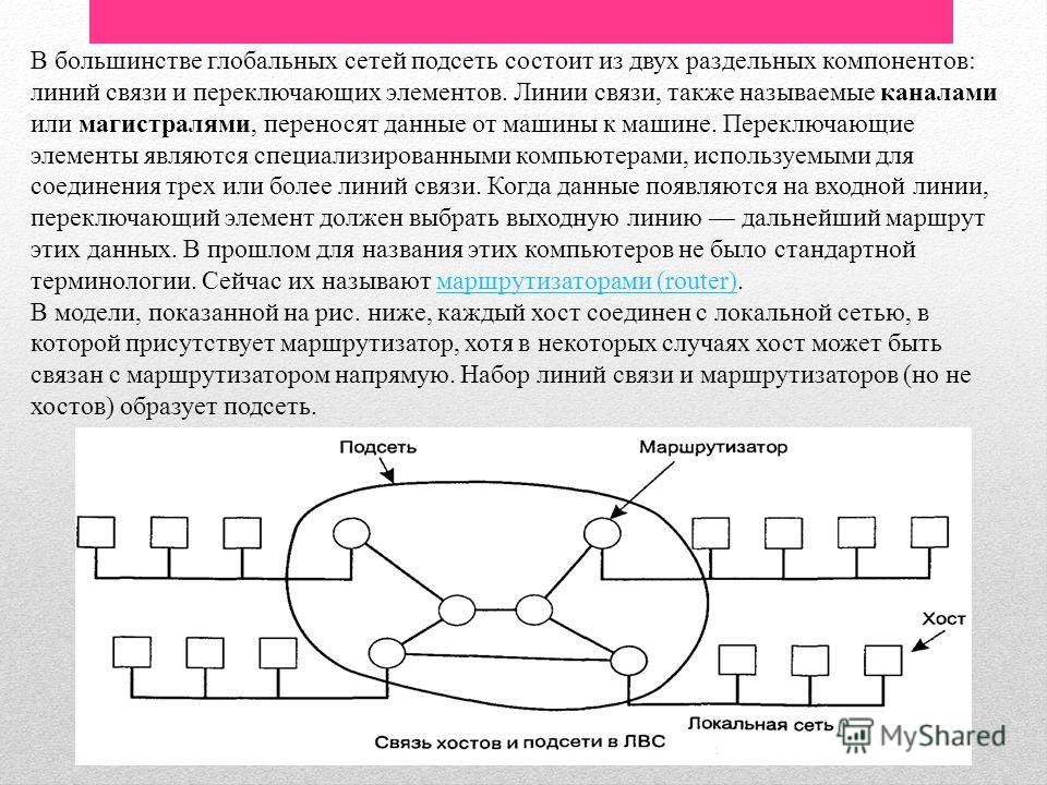 В большинстве глобальных сетей подсеть состоит из двух раздельных компонентов: линий связи и переключающих элементов. Линии связи, также называемые каналами или магистралями, переносят данные от машины к машине. Переключающие элементы являются специа
