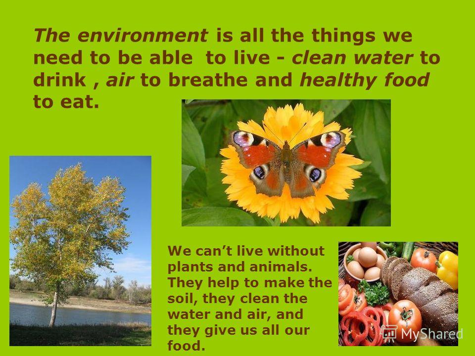 The environment is all the things we need to be able to live - clean water to drink, air to breathe and healthy food to eat. We cant live without plants and animals. They help to make the soil, they clean the water and air, and they give us all our f