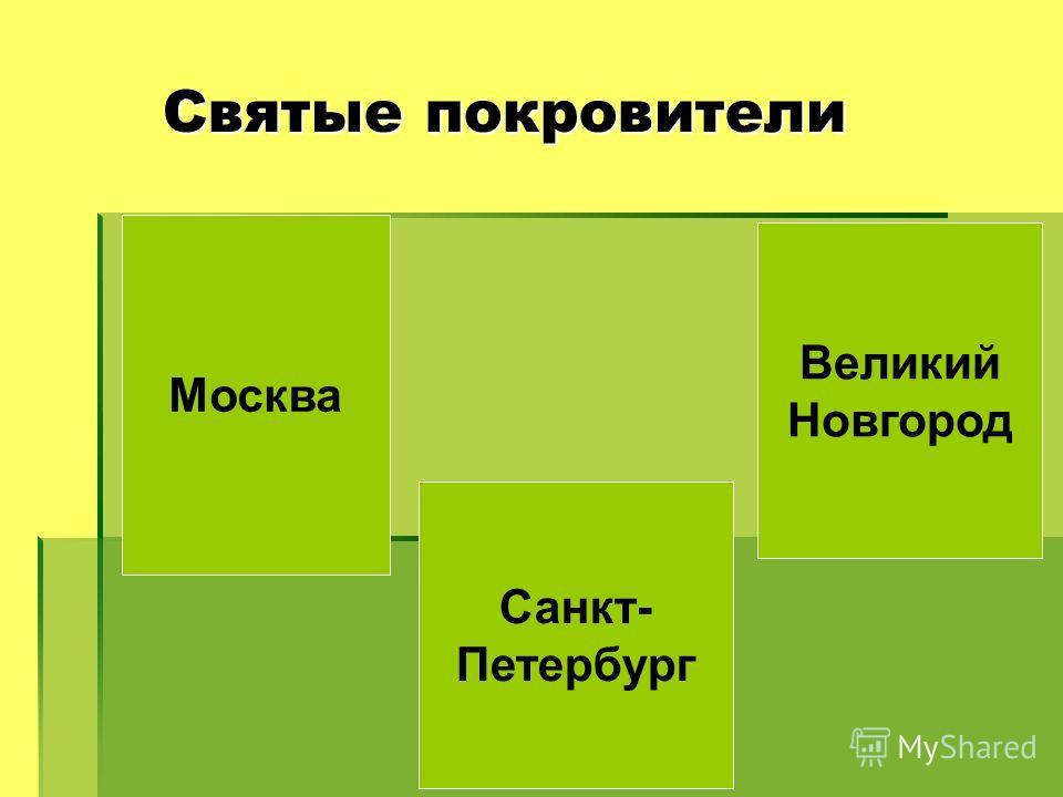 Святые покровители Святые покровители Москва Великий Новгород Санкт- Петербург