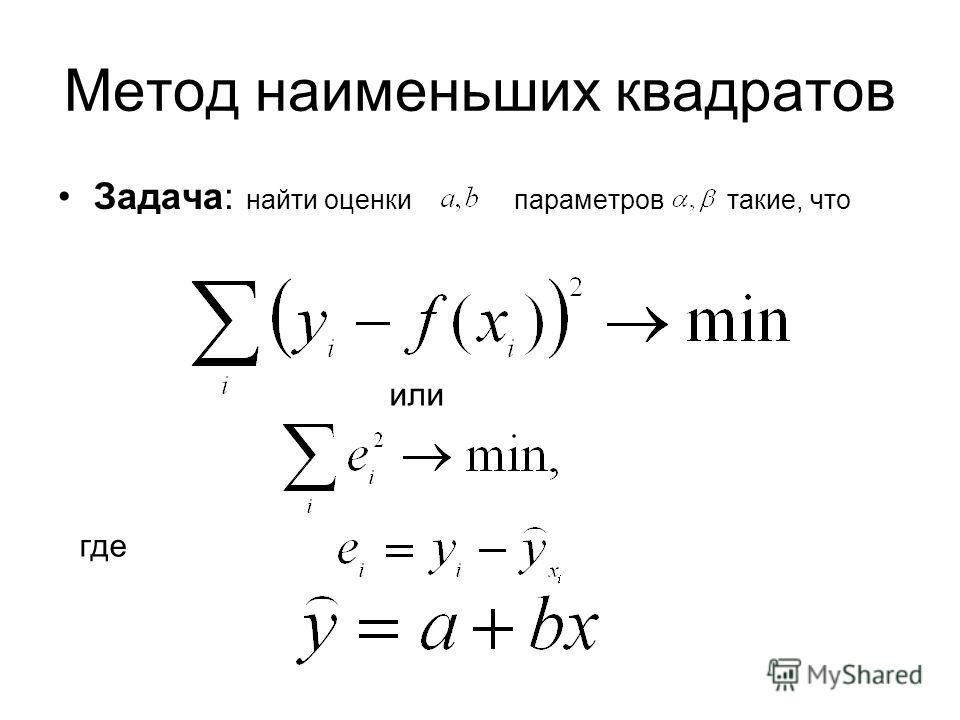 Метод наименьших квадратов Задача: найти оценки параметров такие, что или где