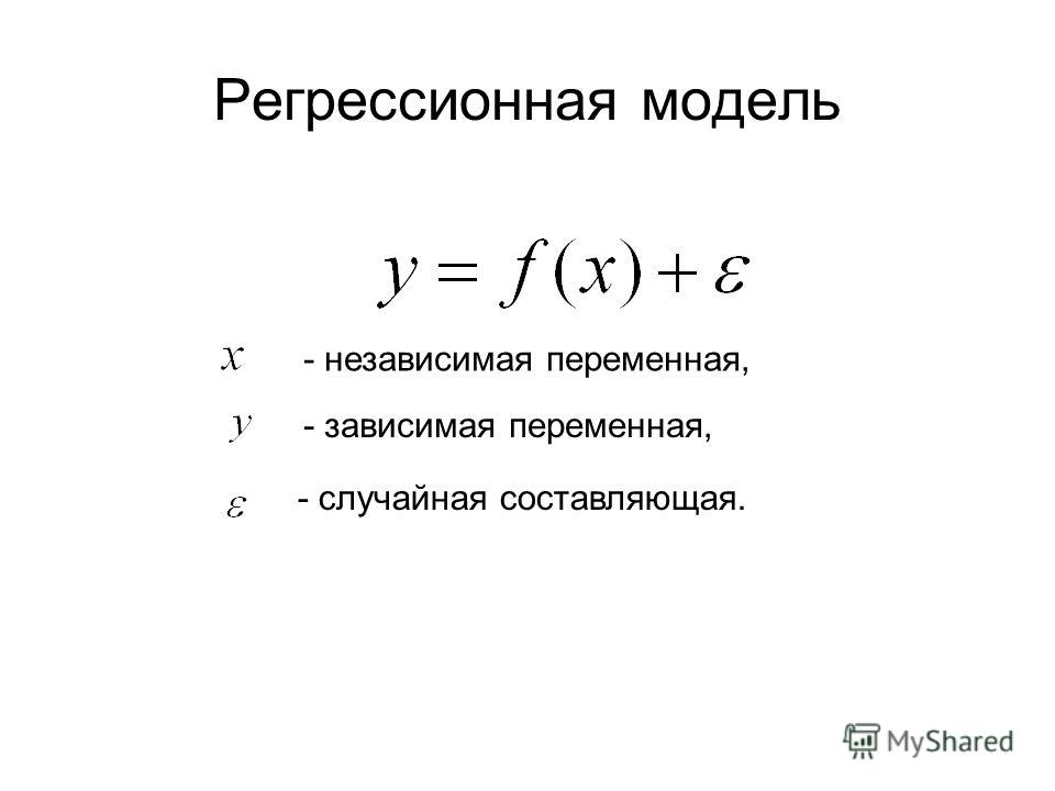 Регрессионная модель - независимая переменная, - случайная составляющая. - зависимая переменная,