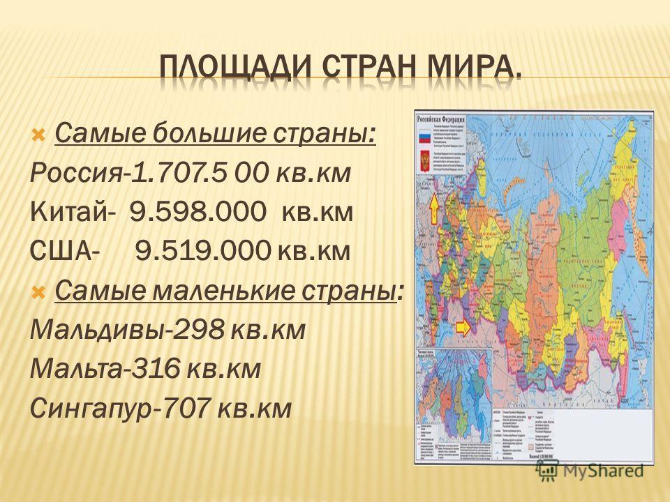 Самые большие страны: Россия-1.707.5 00 кв.км Китай- 9.598.000 кв.км США- 9.519.000 кв.км Самые маленькие страны: Мальдивы-298 кв.км Мальта-316 кв.км Сингапур-707 кв.км