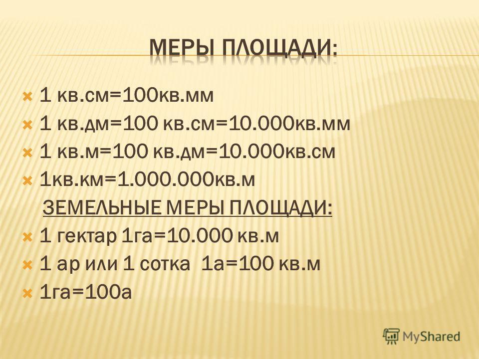 1 кв.см=100кв.мм 1 кв.дм=100 кв.см=10.000кв.мм 1 кв.м=100 кв.дм=10.000кв.см 1кв.км=1.000.000кв.м ЗЕМЕЛЬНЫЕ МЕРЫ ПЛОЩАДИ: 1 гектар 1га=10.000 кв.м 1 ар или 1 сотка 1а=100 кв.м 1га=100а