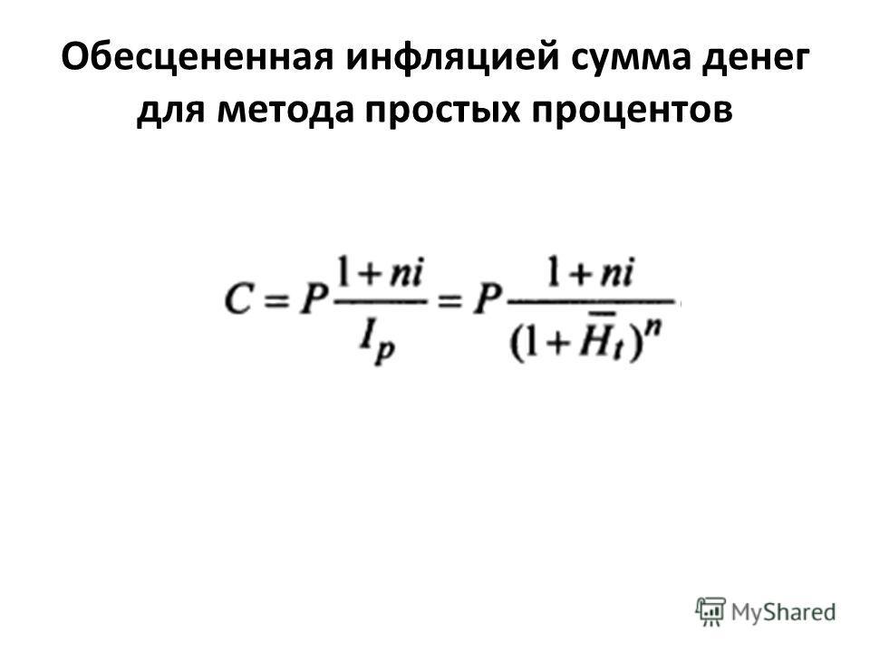 Обесцененная инфляцией сумма денег для метода простых процентов