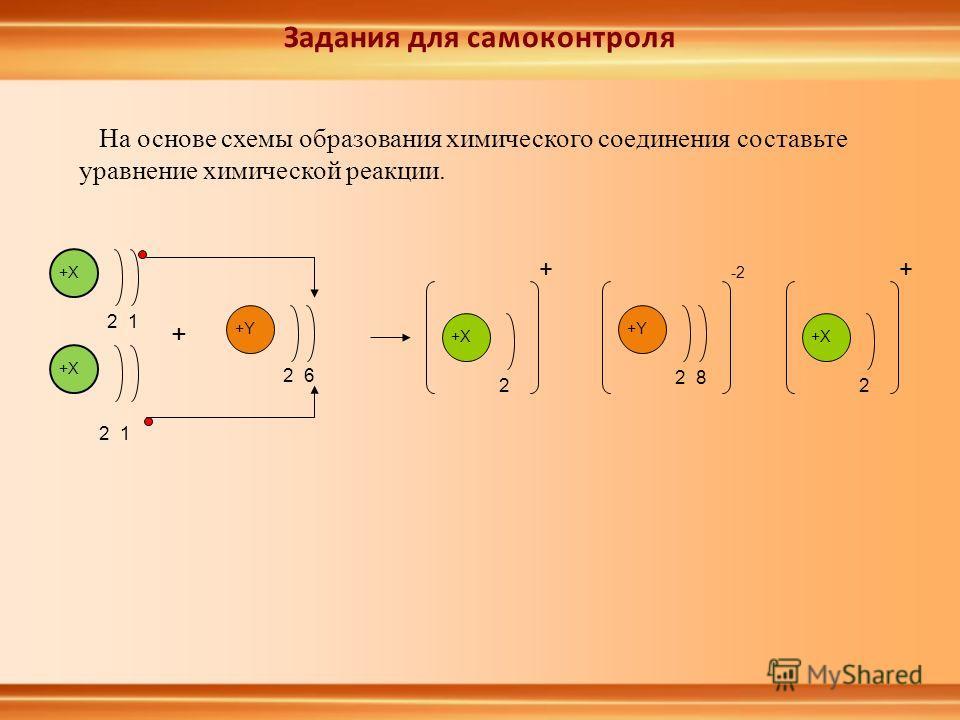 На основе схемы образования химического соединения составьте уравнение химической реакции. +Y 2 6 + +X 2 1 +X 2 1 +X 2 + +Y 2 8 -2 +X 2 + Задания для самоконтроля