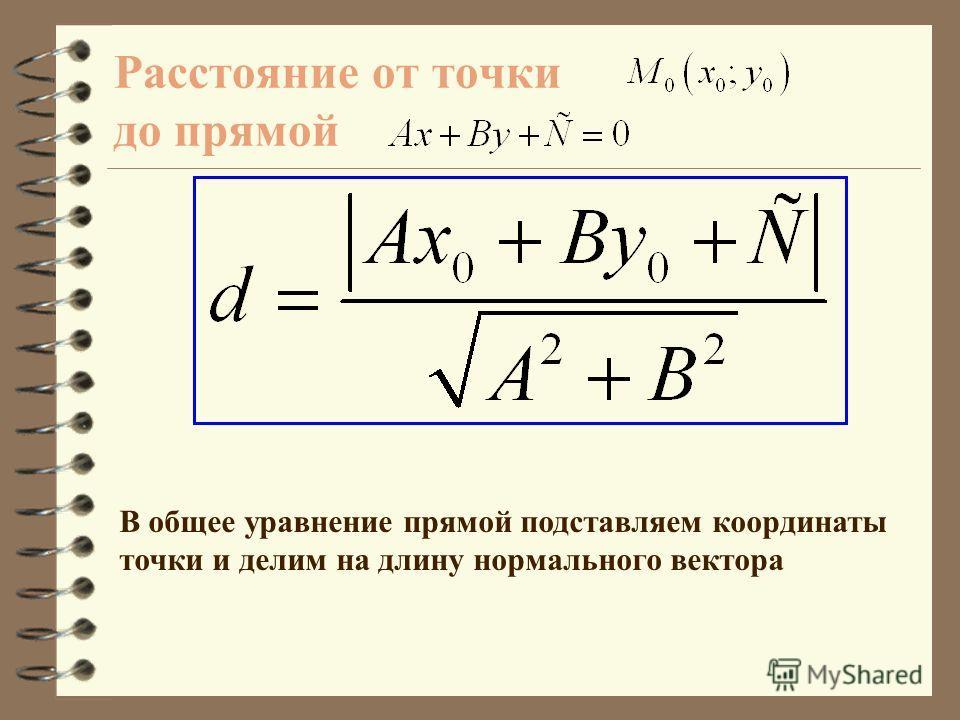 Вектор называется нормальным вектором прямой Общее уравнение прямой Обозначим: Тогда: Общее уравнение прямой