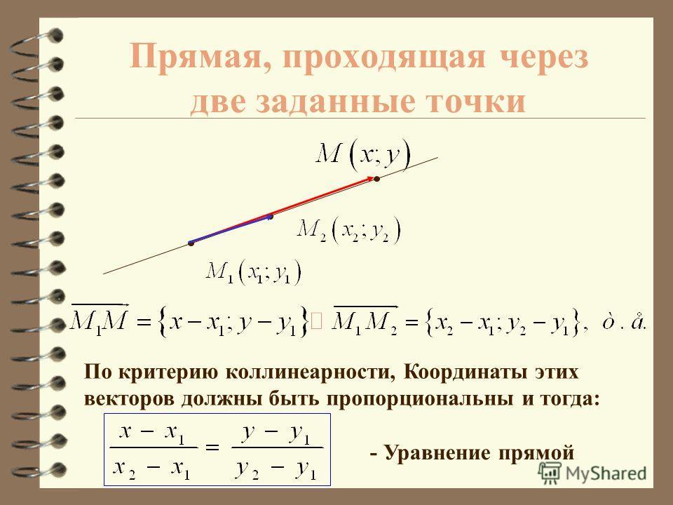 Прямая, проходящая через заданную точку, параллельно заданному вектору A B По критерию коллинеарности, Координаты этих векторов должны быть пропорциональны и тогда: - Уравнение прямой
