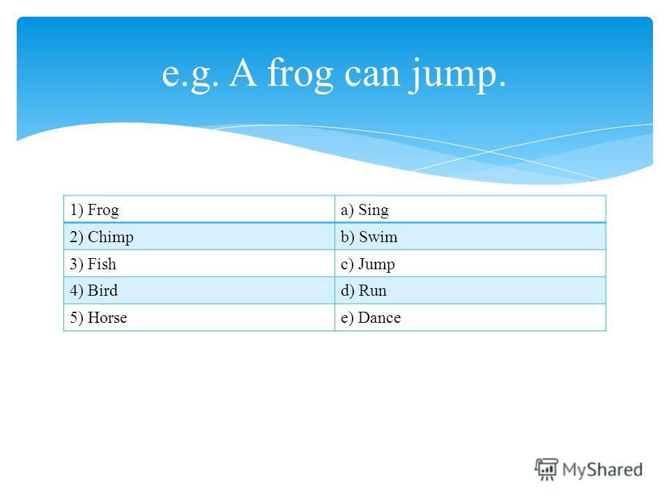 1) Froga) Sing 2) Chimpb) Swim 3) Fishc) Jump 4) Birdd) Run 5) Horsee) Dance e.g. A frog can jump.