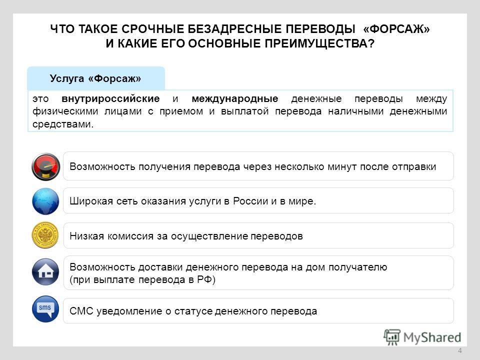 4 ЧТО ТАКОЕ СРОЧНЫЕ БЕЗАДРЕСНЫЕ ПЕРЕВОДЫ «ФОРСАЖ» И КАКИЕ ЕГО ОСНОВНЫЕ ПРЕИМУЩЕСТВА? Услуга «Форсаж» это внутрироссийские и международные денежные переводы между физическими лицами с приемом и выплатой перевода наличными денежными средствами. Возможн