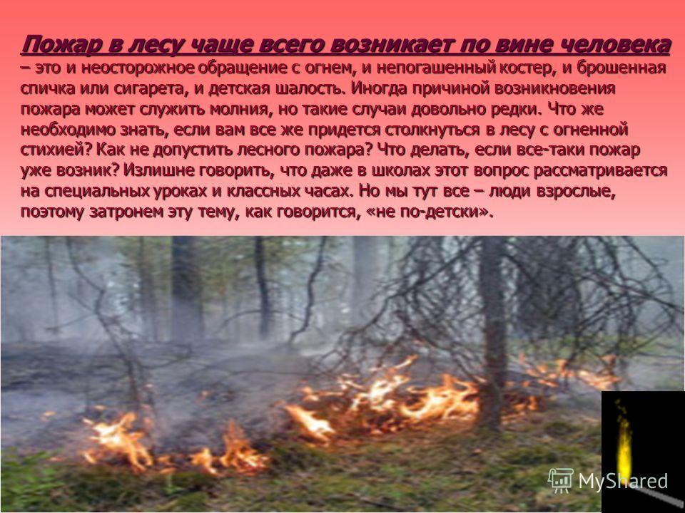 Пожар в лесу чаще всего возникает по вине человека – это и неосторожное обращение с огнем, и непогашенный костер, и брошенная спичка или сигарета, и детская шалость. Иногда причиной возникновения пожара может служить молния, но такие случаи довольно