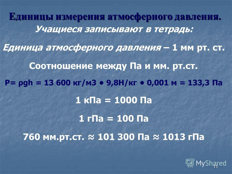 11 Учащиеся записывают в тетрадь: Единица атмосферного давления – 1 мм рт. ст. Соотношение между Па и мм. рт.ст. P= ρgh = 13 600 кг/м3 9,8Н/кг 0,001 м = 133,3 Па 1 кПа = 1000 Па 1 гПа = 100 Па 760 мм.рт.ст. 101 300 Па 1013 гПа Единицы измерения атмос