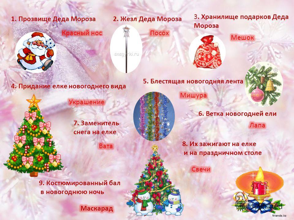 1. Прозвище Деда Мороза2. Жезл Деда Мороза 3. Хранилище подарков Деда Мороза 4. Придание елке новогоднего вида 5. Блестящая новогодняя лента 6. Ветка новогодней ели 7. Заменитель снега на елке 8. Их зажигают на елке и на праздничном столе 9. Костюмир