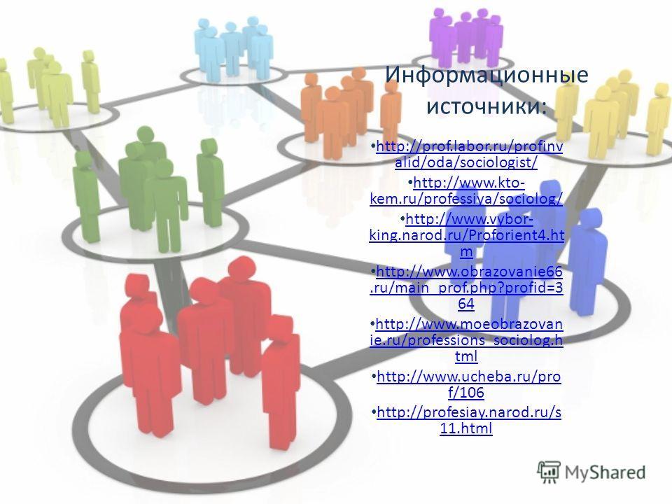 Информационные источники: http://prof.labor.ru/profinv alid/oda/sociologist/ http://prof.labor.ru/profinv alid/oda/sociologist/ http://www.kto- kem.ru/professiya/sociolog/ http://www.kto- kem.ru/professiya/sociolog/ http://www.vybor- king.narod.ru/Pr