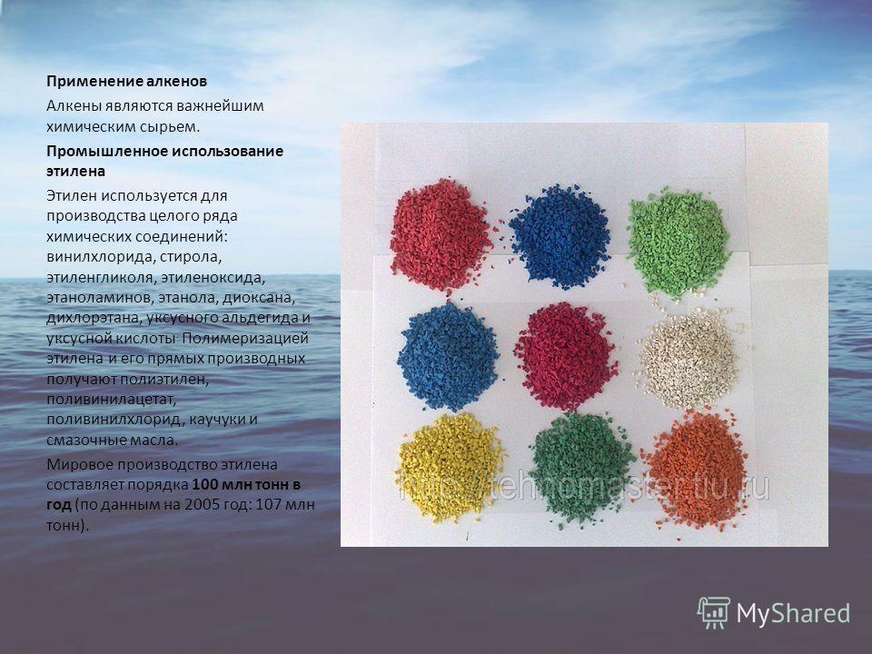Применение алкенов Алкены являются важнейшим химическим сырьем. Промышленное использование этилена Этилен используется для производства целого ряда химических соединений: винилхлорида, стирола, этиленгликоля, этиленоксида, этаноламинов, этанола, диок