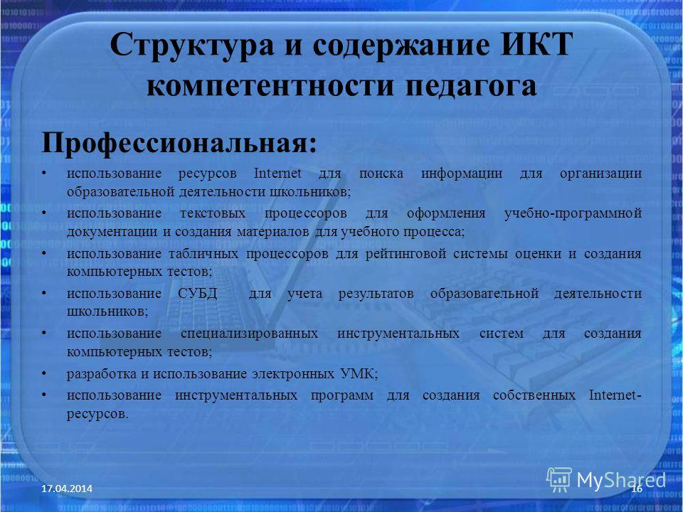 Структура и содержание ИКТ компетентности педагога Профессиональная: использование ресурсов Internet для поиска информации для организации образовательной деятельности школьников; использование текстовых процессоров для оформления учебно-программной