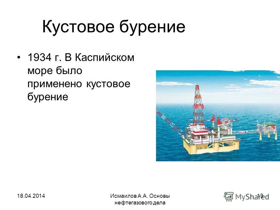 Исмаилов А.А. Основы нефтегазового дела 13 Кустовое бурение 1934 г. В Каспийском море было применено кустовое бурение 18.04.2014