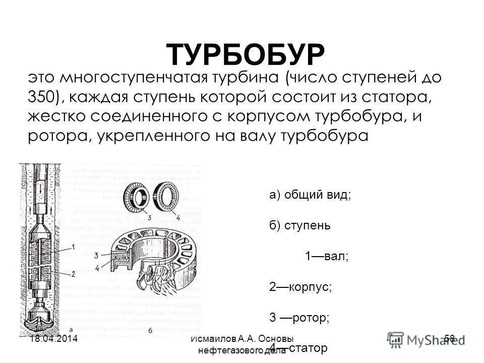 Исмаилов А.А. Основы нефтегазового дела 58 ТУРБОБУР а) общий вид; б) ступень 1вал; 2корпус; 3 ротор; 4статор это многоступенчатая турбина (число ступеней до 350), каждая ступень которой состоит из статора, жестко соединенного с корпусом турбобура, и
