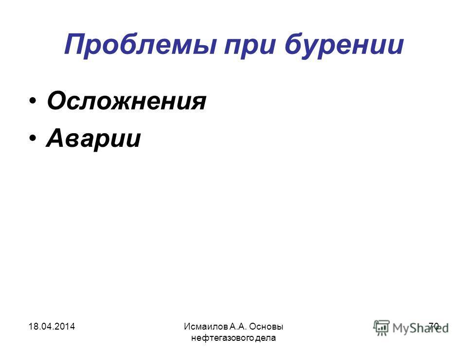 Исмаилов А.А. Основы нефтегазового дела 70 Проблемы при бурении Осложнения Аварии 18.04.2014