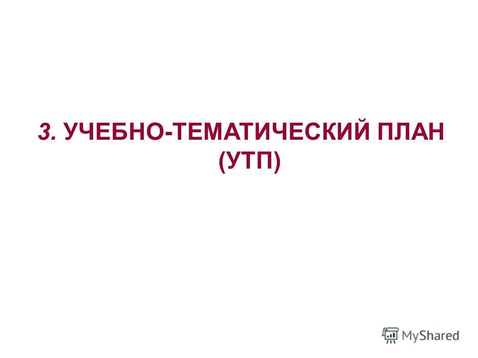 3. УЧЕБНО-ТЕМАТИЧЕСКИЙ ПЛАН (УТП)