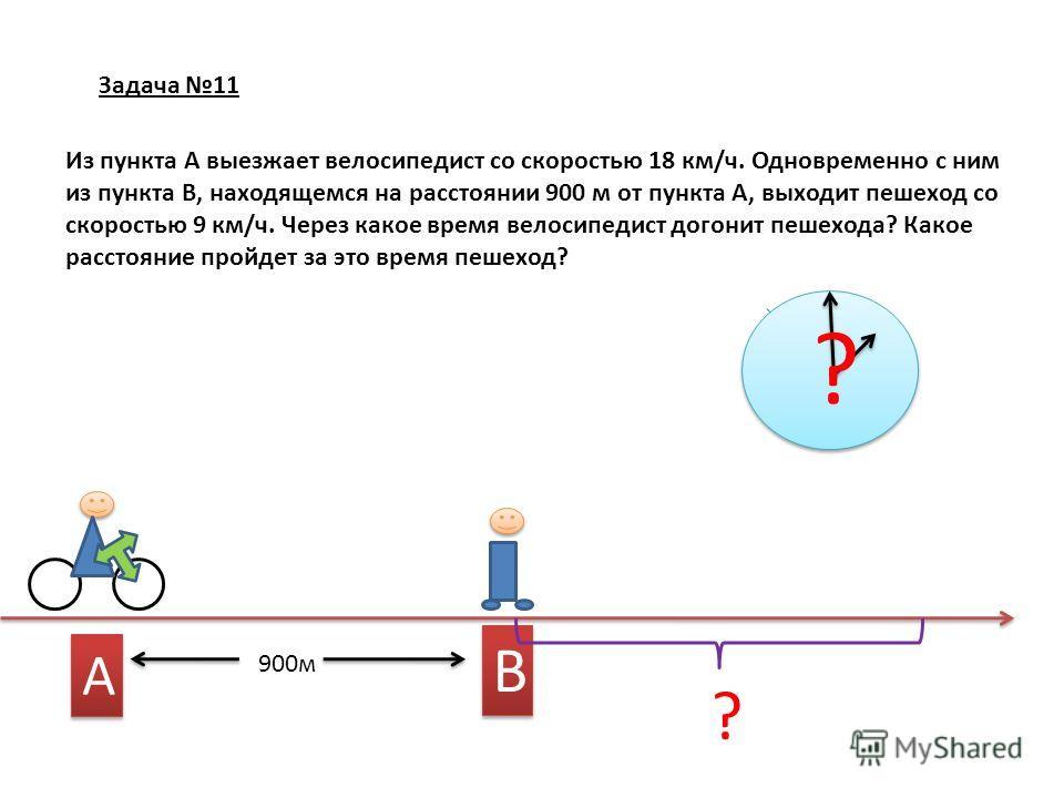 Задача 11 Из пункта А выезжает велосипедист со скоростью 18 км/ч. Одновременно с ним из пункта В, находящемся на расстоянии 900 м от пункта А, выходит пешеход со скоростью 9 км/ч. Через какое время велосипедист догонит пешехода? Какое расстояние прой