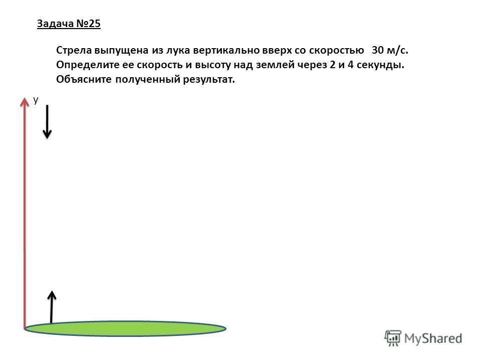 Задача 25 Стрела выпущена из лука вертикально вверх со скоростью 30 м/с. Определите ее скорость и высоту над землей через 2 и 4 секунды. Объясните полученный результат. у
