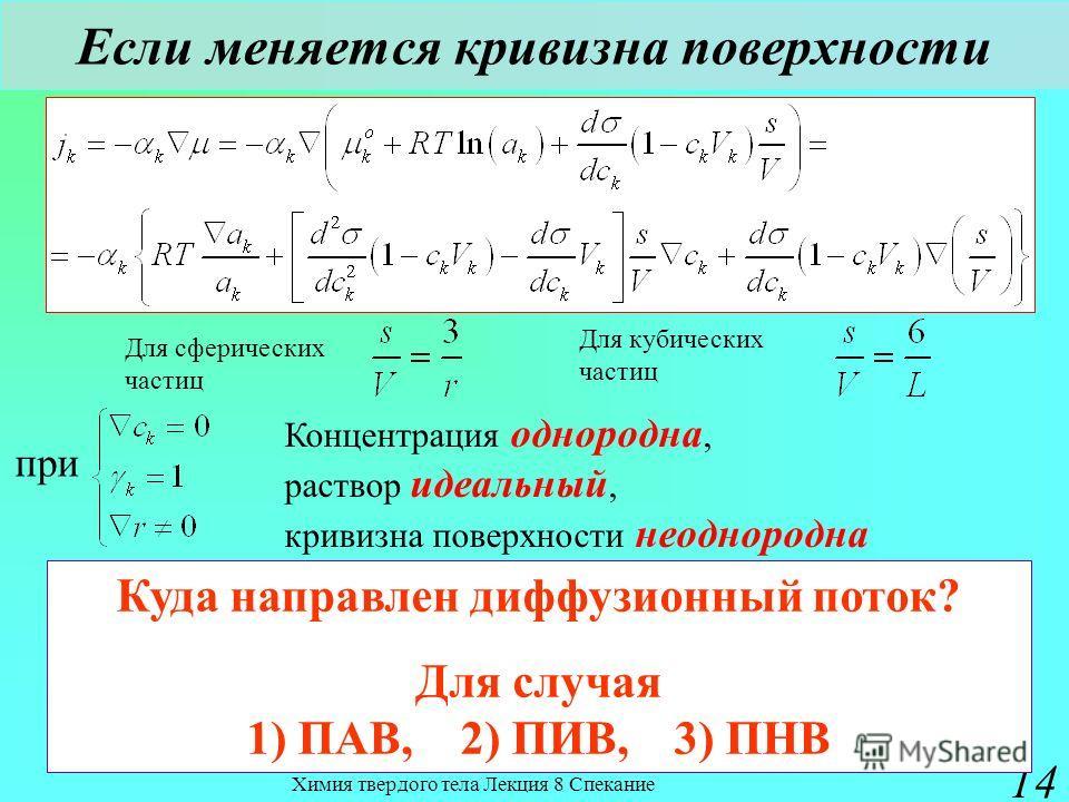 Химия твердого тела Лекция 8 Спекание 14 Если меняется кривизна поверхности при Концентрация однородна, раствор идеальный, кривизна поверхности неоднородна Куда направлен диффузионный поток? Для случая 1) ПАВ, 2) ПИВ, 3) ПНВ Для сферических частиц Дл