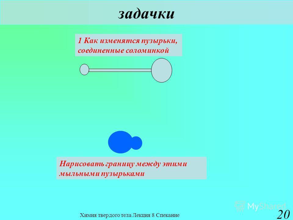 Химия твердого тела Лекция 8 Спекание 20 задачки 1 Как изменятся пузырьки, соединенные соломинкой Нарисовать границу между этими мыльными пузырьками