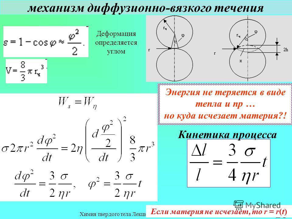 Химия твердого тела Лекция 8 Спекание 23 механизм диффузионно-вязкого течения Деформация определяется углом Кинетика процесса Энергия не теряется в виде тепла и пр … но куда исчезает материя?! Если материя не исчезает, то r = r(t)