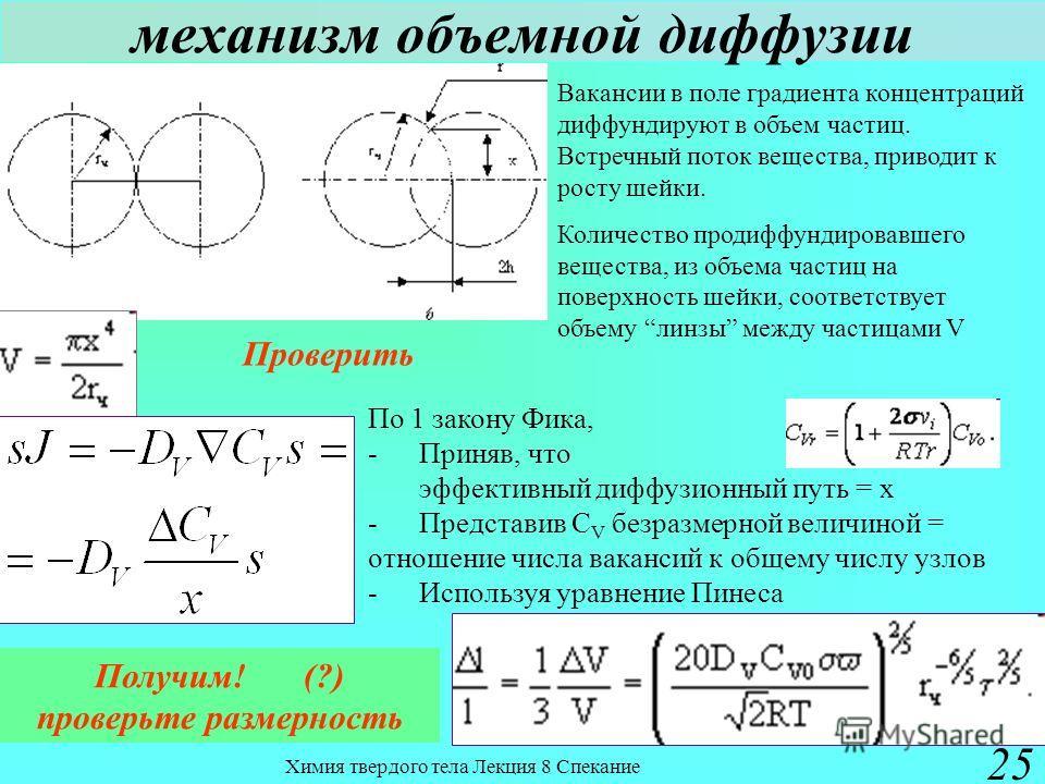 Химия твердого тела Лекция 8 Спекание 25 механизм объемной диффузии Вакансии в поле градиента концентраций диффундируют в объем частиц. Встречный поток вещества, приводит к росту шейки. Количество продиффундировавшего вещества, из объема частиц на по