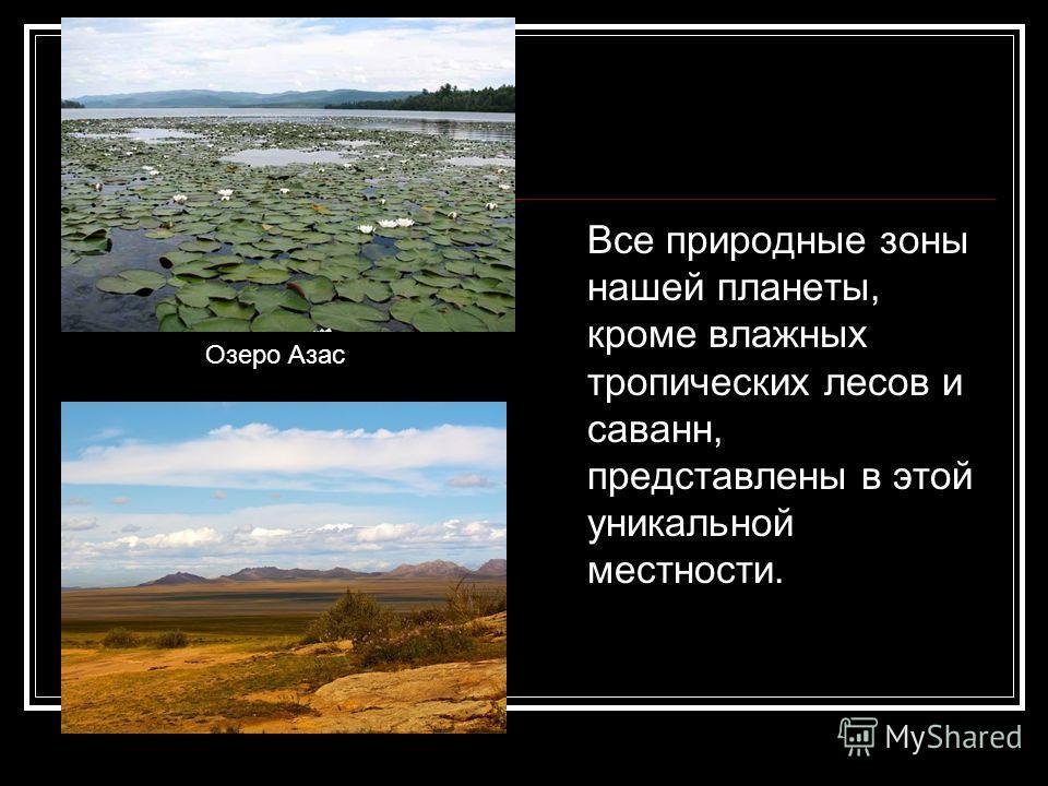 Все природные зоны нашей планеты, кроме влажных тропических лесов и саванн, представлены в этой уникальной местности. Озеро Азас
