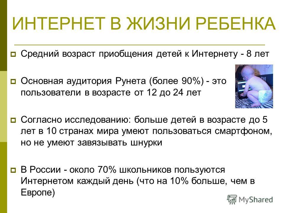 ИНТЕРНЕТ В ЖИЗНИ РЕБЕНКА Средний возраст приобщения детей к Интернету - 8 лет Основная аудитория Рунета (более 90%) - это пользователи в возрасте от 12 до 24 лет Согласно исследованию: больше детей в возрасте до 5 лет в 10 странах мира умеют пользова