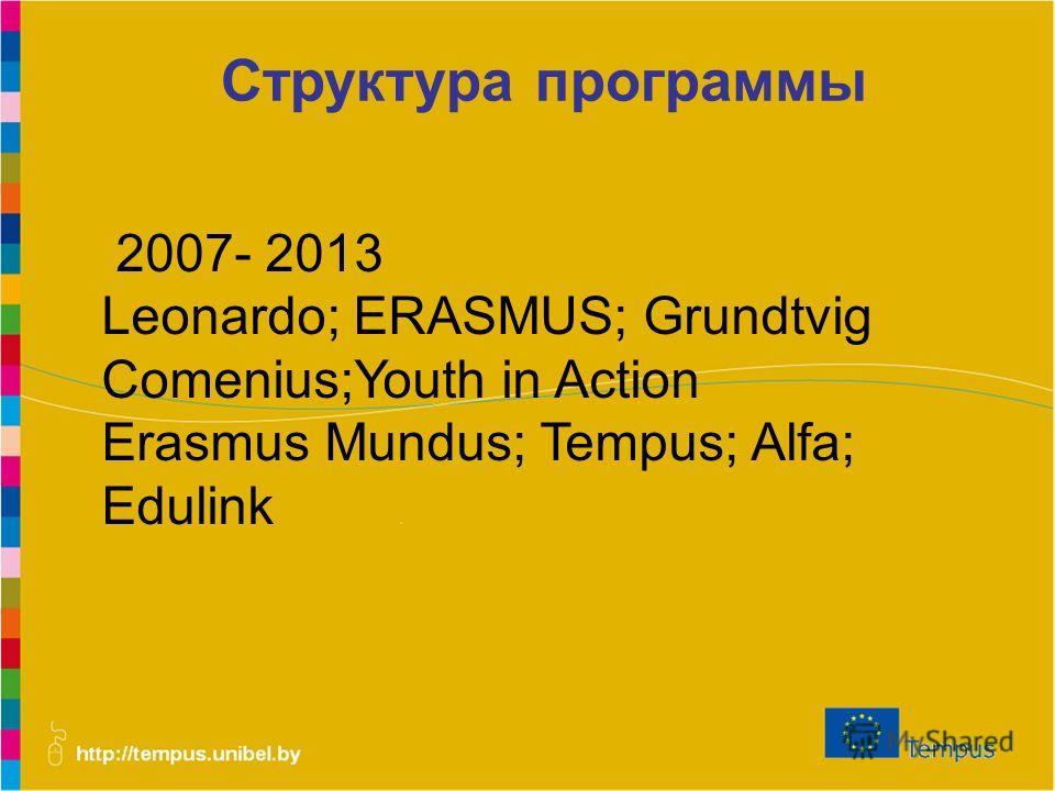 Структура программы 2007- 2013 Leonardo; ERASMUS; Grundtvig Comenius;Youth in Action Erasmus Mundus; Tempus; Alfa; Edulink