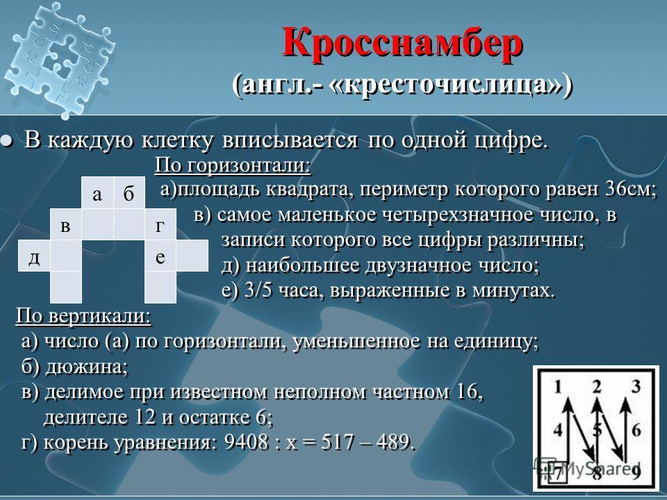 Кросснамбер (англ.- «кресточислица») В каждую клетку вписывается по одной цифре. По горизонтали: а)площадь квадрата, периметр которого равен 36см; в) самое маленькое четырехзначное число, в записи которого все цифры различны; д) наибольшее двузначное