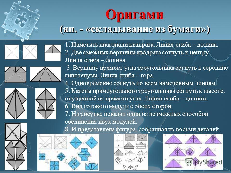 Оригами (яп. - «складывание из бумаги») 1. Наметить диагонали квадрата. Линия сгиба – долина. 2. Две смежных вершины квадрата согнуть к центру. Линия сгиба – долина. 3. Вершину прямого угла треугольника согнуть к середине гипотенузы. Линия сгиба – го