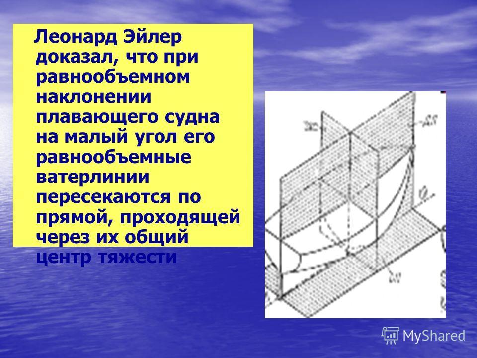 Леонард Эйлер доказал, что при равнообъемном наклонении плавающего судна на малый угол его равнообъемные ватерлинии пересекаются по прямой, проходящей через их общий центр тяжести
