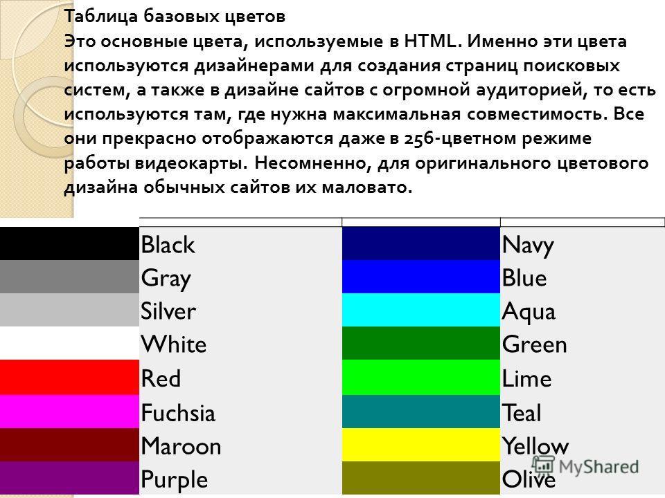 Таблица базовых цветов Это основные цвета, используемые в HTML. Именно эти цвета используются дизайнерами для создания страниц поисковых систем, а также в дизайне сайтов с огромной аудиторией, то есть используются там, где нужна максимальная совмести