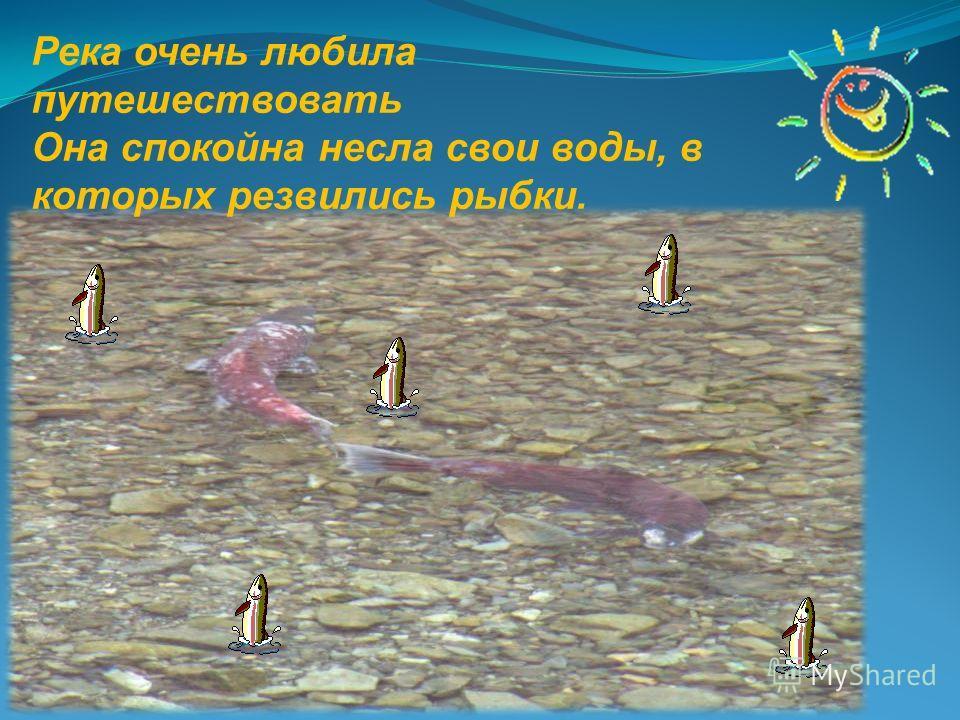 Река очень любила путешествовать Она спокойна несла свои воды, в которых резвились рыбки.
