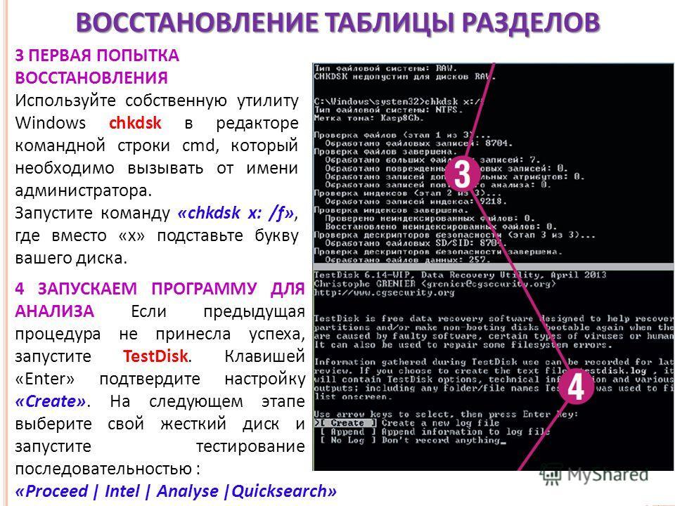 ВОССТАНОВЛЕНИЕ ТАБЛИЦЫ РАЗДЕЛОВ 3 ПЕРВАЯ ПОПЫТКА ВОССТАНОВЛЕНИЯ Используйте собственную утилиту Windows chkdsk в редакторе командной строки cmd, который необходимо вызывать от имени администратора. Запустите команду «chkdsk x: /f», где вместо «x» под