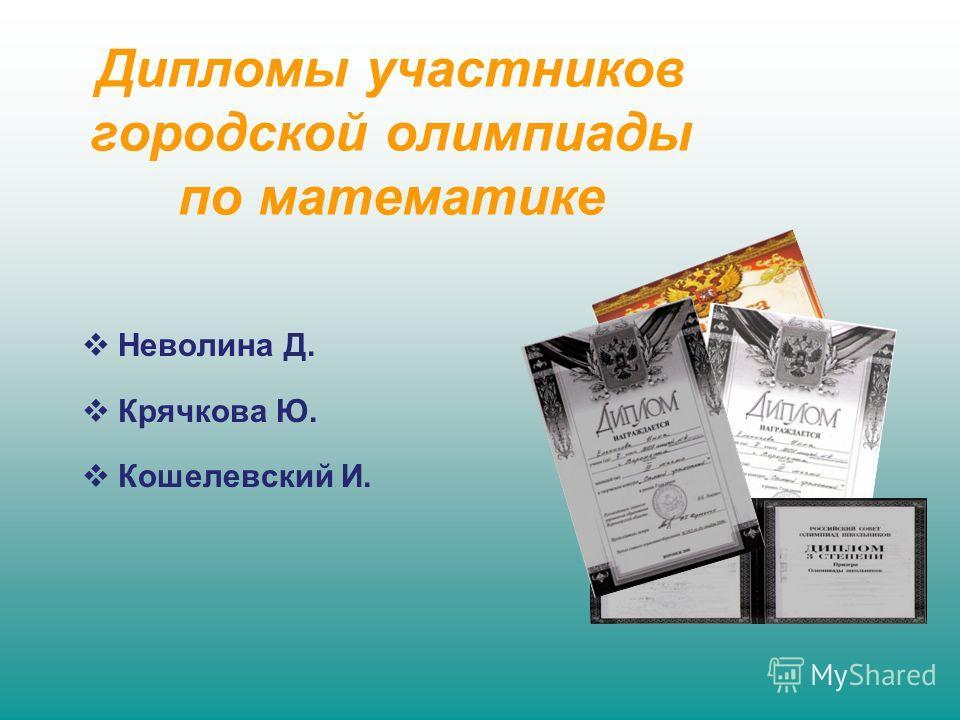 Дипломы участников городской олимпиады по математике Неволина Д. Крячкова Ю. Кошелевский И.