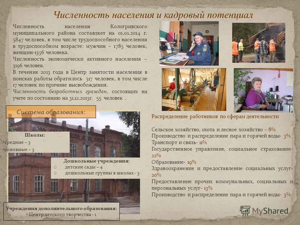 Численность населения и кадровый потенциал Численность населения Кологривского муниципального района составляет на 01.01.2014 г. 5847 человек, в том числе трудоспособного населения в трудоспособном возрасте: мужчин – 1785 человек, женщин-1356 человек
