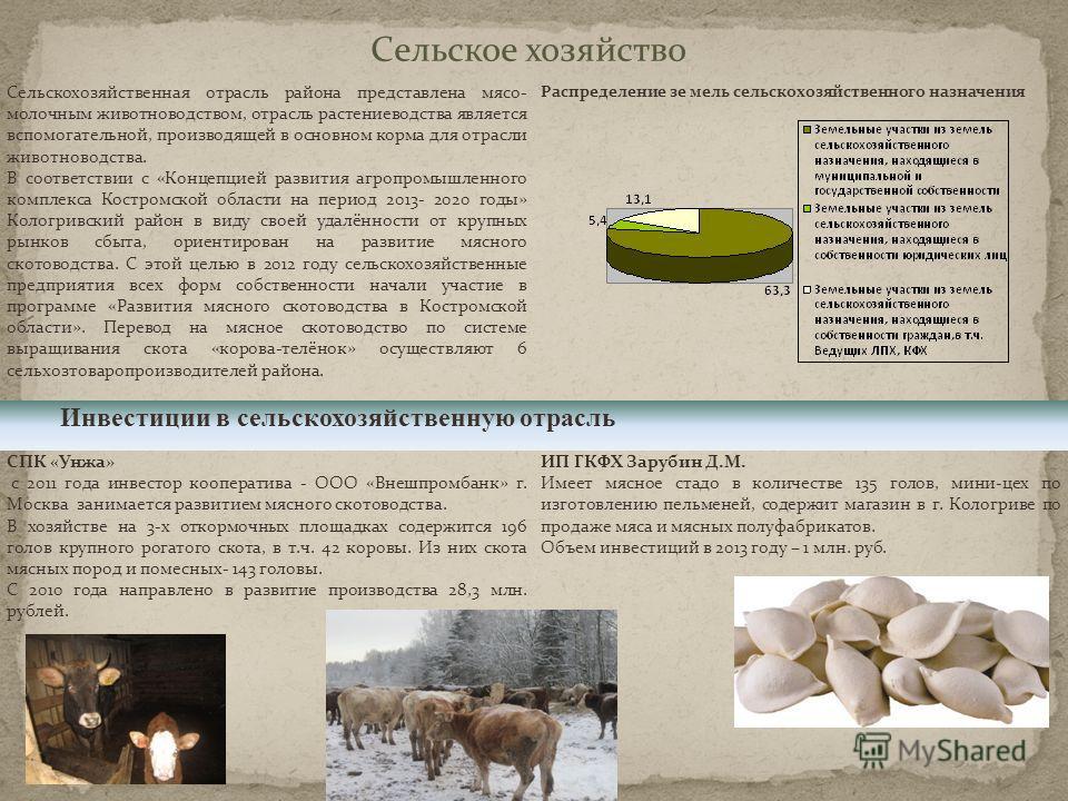 Сельское хозяйство Сельскохозяйственная отрасль района представлена мясо- молочным животноводством, отрасль растениеводства является вспомогательной, производящей в основном корма для отрасли животноводства. В соответствии с «Концепцией развития агро