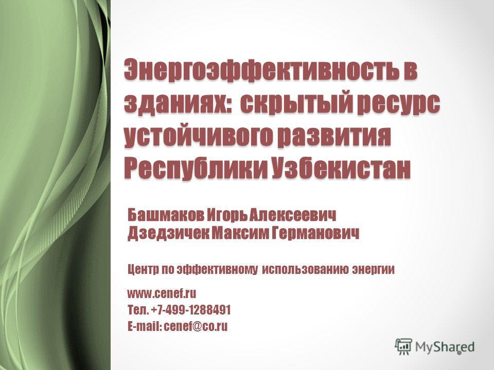 Энергоэффективность в зданиях: скрытый ресурс устойчивого развития Республики Узбекистан Башмаков Игорь Алексеевич Дзедзичек Максим Германович Центр по эффективному использованию энергии www.cenef.ru Тел. +7-499-1288491 E-mail: cenef@co.ru