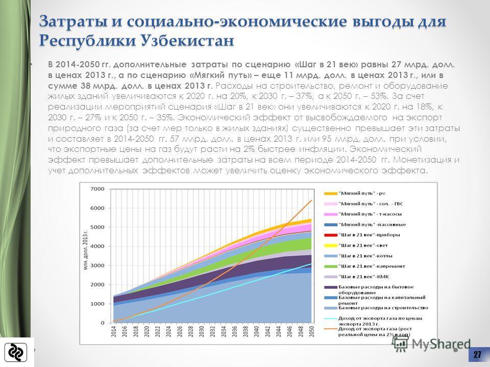 Затраты и социально-экономические выгоды для Республики Узбекистан В 2014-2050 гг. дополнительные затраты по сценарию «Шаг в 21 век» равны 27 млрд. долл. в ценах 2013 г., а по сценарию «Мягкий путь» – еще 11 млрд. долл. в ценах 2013 г., или в сумме 3